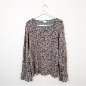 Lucky Brand Ruffled Long Sleeve Floral Cloud sz M